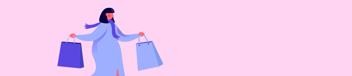 Shopper running with bag