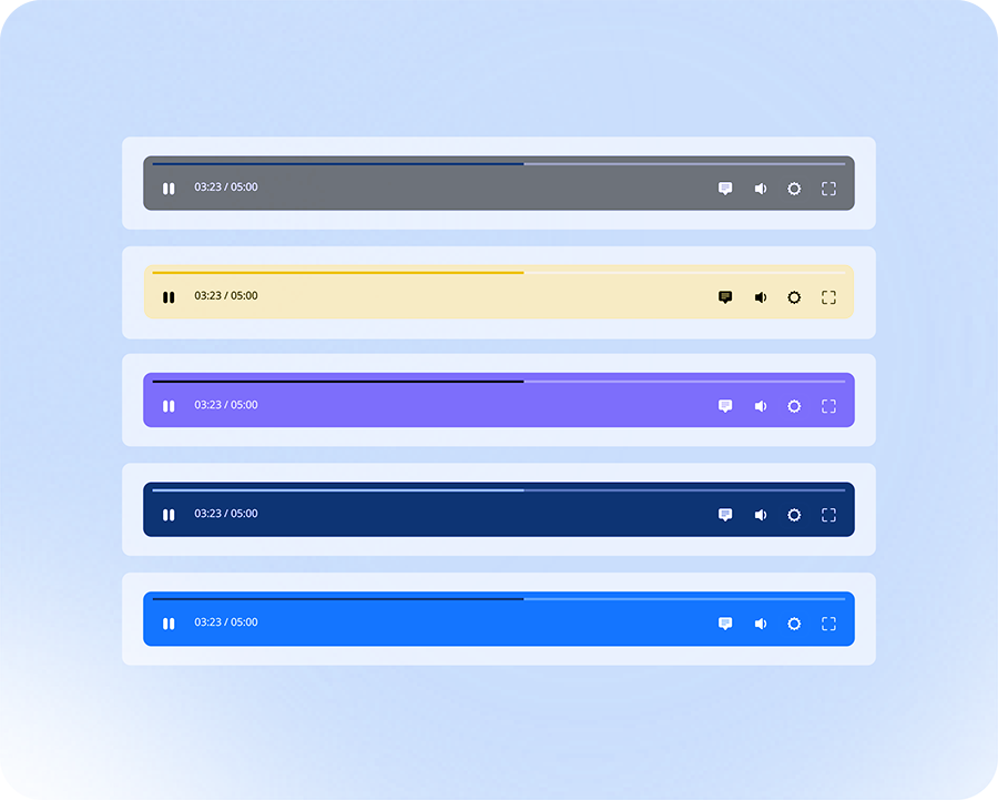 Image showing player control bar in different colors